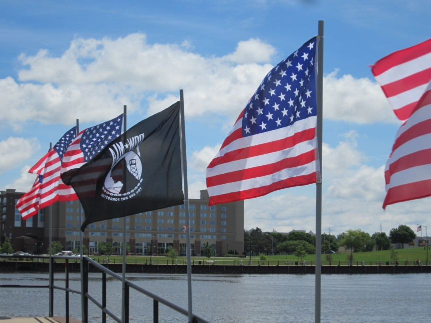 POW/MIA Flag flies at riverside in Bay City