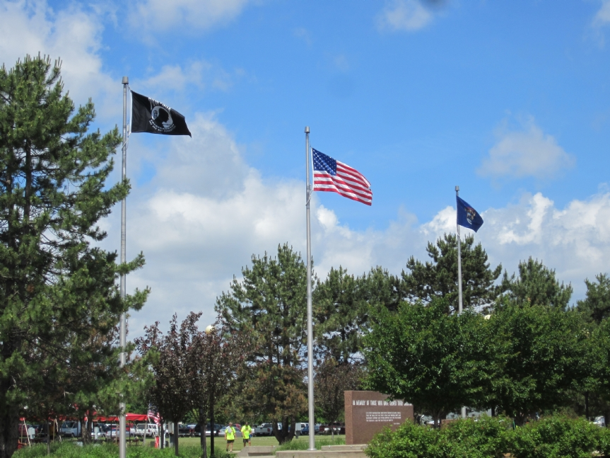 POW/MIA Flag flies at Veterans park in Bay City