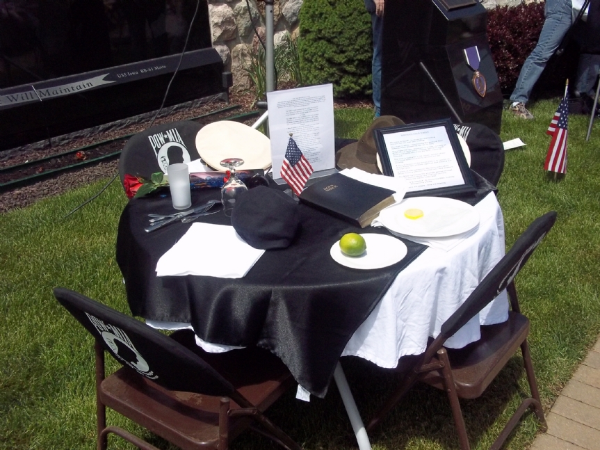 Missing Man Table at Lake Orion Veterans Memorial May 2013