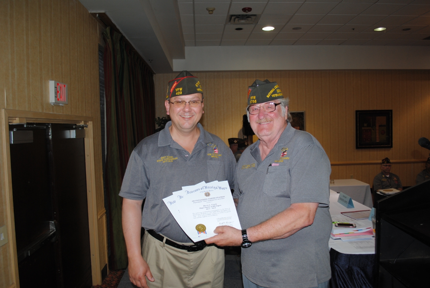"Outstanding Participation Award presented to Harry ""Les"" Croyle (r.) for Voice of Democracy Activities et al  by Cmdr. Matt David (l.)"