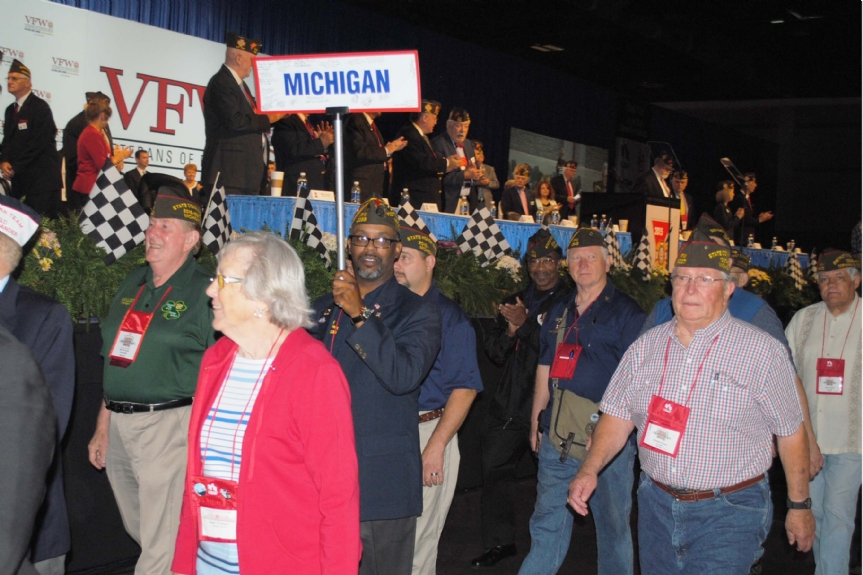 Michigan Delegation marching after installation of new Commander-in-Chief