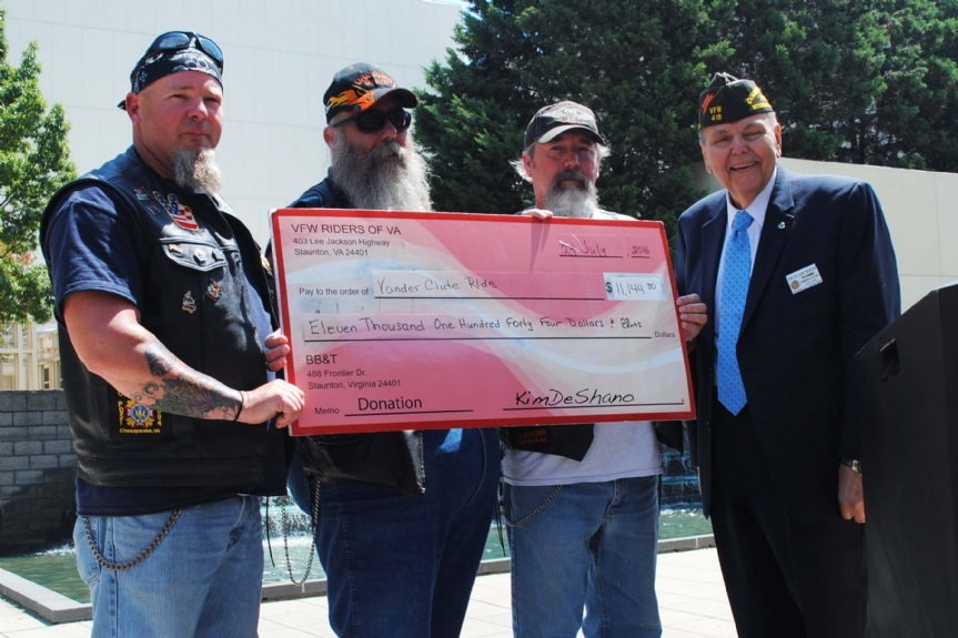 Vander Clute check presentation from VFW riders